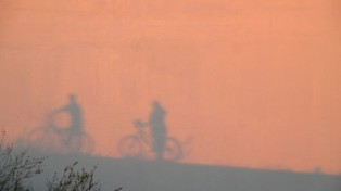 Sillhouette of Walking the Bikes