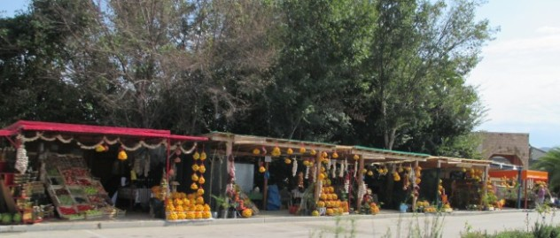Stalls on side of road selling produce