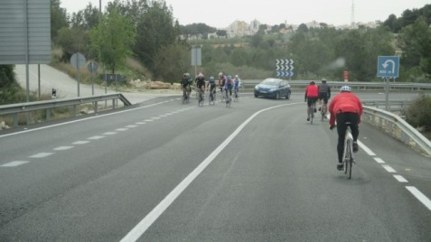It wasn't the cars that held us up but the cyclists!