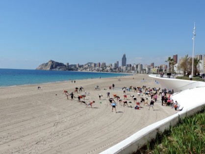 Exerising on Poniente Beach