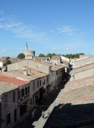 Overlooking the town from the ramparts, Aigues-Mortes