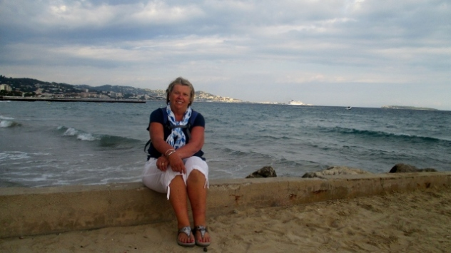 Me at Mandelieu La Napoule with Cannes in the background