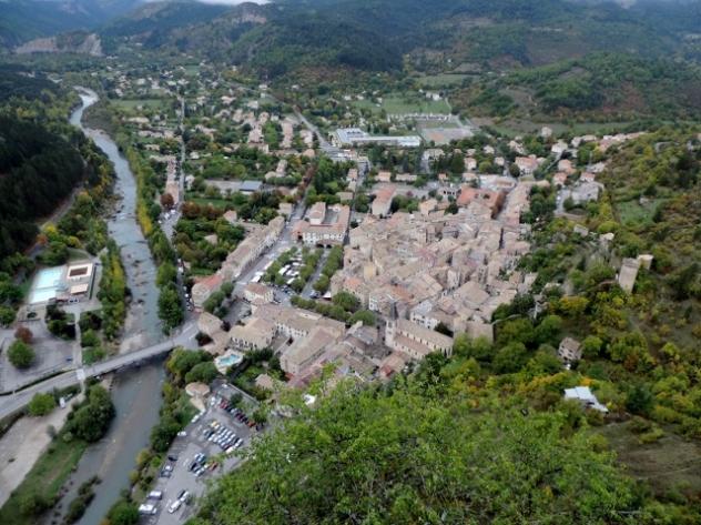 View over Castellane from Chapelle Notre Dame du Roc