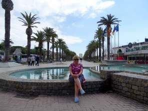 The non-working fountains and the boulevard lined with palm trees in Salou