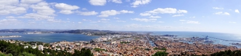 Panoramic views of Sete and beyond from Mont St Clair