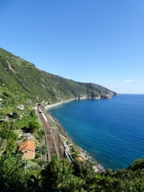 View to the train station from the stairway to Corniglia