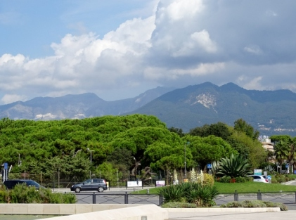 The Apuane Alps behind Massa