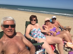 Mick, Jill, Rosie,Tony at Peñiscola Beach