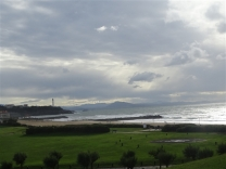 View from the Aire of Anglet Beach with Biarritz and the Pyrenees in the background